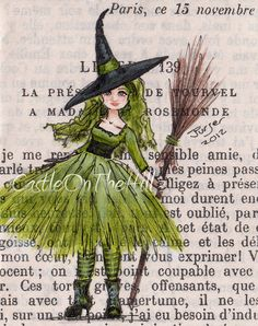 January SALE Green Witch 8 x 10 Print by CastleOnTheHill on Etsy, $11.70