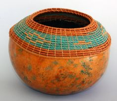 Gourd Art Bowl Copper Turquoise Colored   Item 622 by by TxWeaver