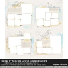 Collage My Memories Layered Template Pack No. 03 scrapbook page templates for an instant cohesive photo album with a touch of artistry PSD and PNG formats #designerdigitals