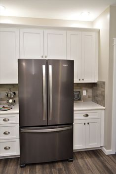 Bailey's Cabinets, BaileyTown USA Select, Maple, White finish, Rentown door style Kitchen Cabinetry, Kitchen Appliances, Baileys, French Door Refrigerator, White Cabinets, Design Firms, Kitchens, Doors, Usa