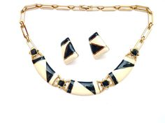 Monet Vintage Necklace Earrings BlueBlack  by Vintageby1980sExcess, $45.00