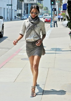 Do this with CM silk cargo skirt, putty wedge sandals, Joe scarf