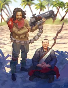 """presteasy: """" AYE YALL! Here's some Rogue One Fanart I did during my stream! It's of Chirrut and Baze making cool poses. I had a lot of fun with this piece! You can check out the process on my twitch..."""