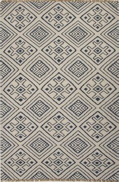 Jaipur BAT01 Flat-Weave Tribal Pattern Wool Blue/Ivory Area Rug ( 2x3 ) | Furniture, home decor, wall decor, rugs, lamps, lighting outlet.