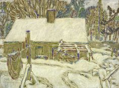 David Milne Back of Clarke's House, 1923 oil on canvas x cm Gift of the Founders, Robert and Signe McMichael McMichael Canadian Art Collection Great Paintings, Landscape Paintings, Landscapes, David Milne, Canada Images, Collage Artwork, Winter Art, Canadian Artists, Urban Landscape