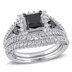 #Valentines #AdoreWe #Zales - #Zales 2 CT. T.w. Princess-Cut Enhanced Black and White Diamond Milgrain Split Shank Bridal Set in 10K White Gold - AdoreWe.com