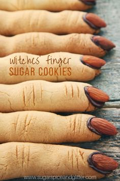 These spooky witch finger cookies are so much fun to serve and eat at a Halloween party and they are perfect for dipping! Who would have thought you'd be encouraging the kids to dip their fingers? Witch Finger Cookie Recipe, Halloween Finger Cookies, Witch Finger Cookies, Halloween Sugar Cookies, Halloween Treats For Kids, Halloween Baking, Halloween Desserts, Halloween Party, Halloween Finger Recipe