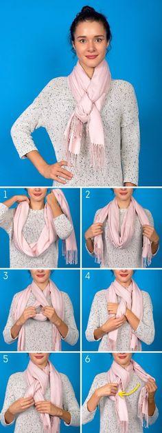 Fest und gemütlich Ways To Wear A Scarf, Ways To Tie Scarves, How To Wear Scarves, Silk Scarves, Comment Porter, European Fashion, European Style, Tying A Scarf, Scarf Knots