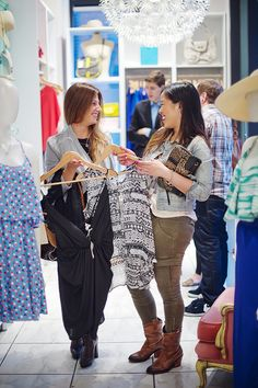 Girls shopping in our clothing section!