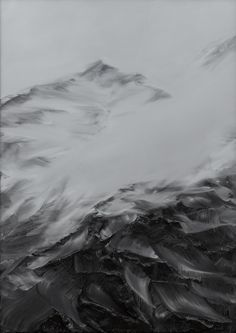 """Abstract black and white painting, mountains, """"zwischen himmel und erde nr. 29"""" by Conrad Jon Godly, 2008."""