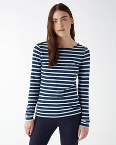 Relaxed long-sleeve T-shirt in softest cotton jersey. Distinctive woven retro stripe pattern. Layer under a cashmere hooded jumper for effortless off-duty cool. This piece is part of the Jigsaw Essential range; designed with style, and crafted to last.
