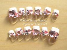 Japanese fake nails Honoka white french nails with by Aya1gou