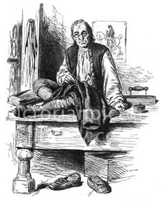 Tailor. Victorian illustration of a tailor sitting cross-legged on his low table. He is making a man's coat; beside him are a flat-iron and a box (of pins?). Download high quality jpeg for just £5. Perfect for framing, logos, letterheads, and greetings cards.