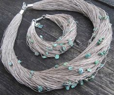 Turquoise Linen Necklace and Bracelet Set Natural Raw Gemstone Jewelry Blue Mint Teal Robins Egg Nest Gray Eco Style Jewelry Beaded Fiber