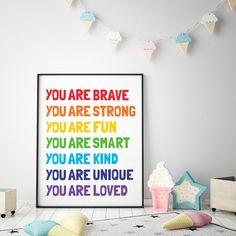 Kids Printable Art: You Are Brave Strong Fun Smart Kind Loved, Kids Word Art, Classroom Poster,  Kids Affirmation Art *Instant Download* Kid Bathroom Decor, Nursery Wall Decor, Nursery Prints, Wall Prints, Printing Websites, Online Printing, Classroom Posters, Art Classroom, Kids Room Wall Art