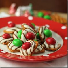 It's just that easy... ■Bite-size, waffle-shaped pretzels ■Hershey's Kiss or Hershey's Hugs ■M&M's candy.