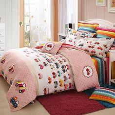 LELVA Cartoon Cars Bedding Set Kids Bedroom Bedding Set Childrens Duvet Cover Set Colorful Sheet Set Twin Full Queen Twin * Click image for more details.