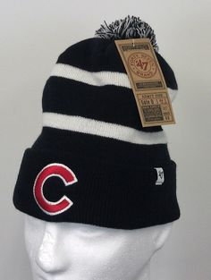 39fe19581 Chicago Cubs Winter Beanie Hat 47 Brand Embroidered Pom Pom One Size Black  White