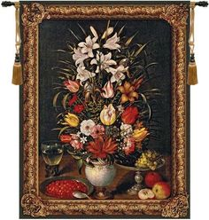 Woven in Belgium History: Antique Breughel is a Belgian made jacquard wall tapestry. The original still life was painted by Jan Breughel (1568-1625) and is know