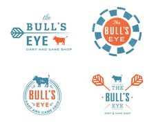BULL'S EYE    The finished logo and some proposed options for a dart and game shop. Logo.