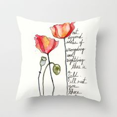 Rumi+with+poppies+Throw+Pillow+by+Carrie+Harper+-+$20.00