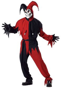 Evil Jester Costume Red & Black - Halloween Costumes at Escapade™ UK