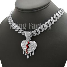 Drip Broken Heart pendant 18 Iced Box Lock Cuban Choker Chain Hip Hop Necklace - Necklace Chokers - Ideas of Necklace Chokers - 0 The post Drip Broken Heart pendant 18 Iced Box Lock Cuban Choker Chain Hip Hop Necklace appeared first on Awesome Jewelry. Chokers For Kids, Rapper Jewelry, Cute Jewelry, Jewlery, Accesorios Casual, Expensive Jewelry, Chains For Men, Chain Pendants, Luxury Jewelry