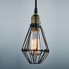 LES® YOBO Lighting Industrial Edison Vintage Opening and Closing Hanging Light Wire Cage Pendant Light Wire Pendant Light, Pendant Light Fitting, Vintage Pendant Lighting, Industrial Pendant Lights, Pendant Light Fixtures, Light Fittings, Applique, Ceiling Light Shades, Suspension Vintage