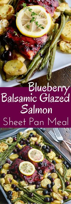 When I find good quality salmon, I scoop it up to make a delicious meal. Sheet Pan Blueberry-Balsamic Glazed Salmon is a great way to serve salmon with a wonderfully rich glaze and roasted vegetables. Simple and easy to make! Salmon Recipes, Fish Recipes, Seafood Recipes, Dinner Recipes, Cooking Recipes, Healthy Recipes, Paleo Dinner, Pan Cooking, Seafood Meals