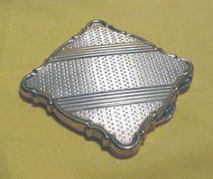Beautiful Old Art Deco Era 800 Fine Silver Vanity Compact