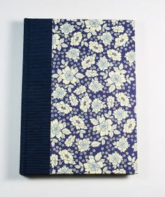 "Garden Journal ""BERTINI BLUE""made in the USA #Wolfies Bindery, $25 talian Decorative Paper, Garden Book, Antioch Bookplate, Binders Board, Woven Headband, Bookcloth, Satin Ribbon"