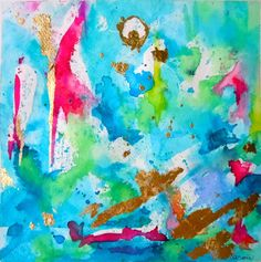 "Aqua Turquoise Abstract Watercolor Print, Abstract Reproduction,  Abstract Wall Art, Aqua Mint Pink""Festive"" - 14x14"