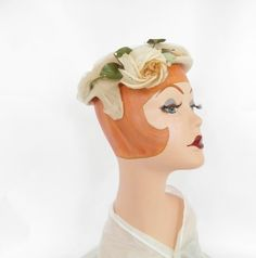 1950s cocktail hat, vintage rose and tulle by TheVintageHatShop on Etsy