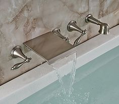 Rozin Wall Mounted 5pcs Waterfall Bathtub Faucet 3 Knobs Mixer Tap with Hand Shower Brushed Nickel Finish Rozinsanitary