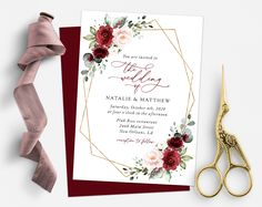 Invite friends and family in style and set the tone for your special day with this charming wedding invitation! #printable #wedding #reception #invitations #weddinginvitations #weddingstationery #SHdesigns Red Wedding Invitations, Reception Invitations, Wedding Stationery, Wedding Card Design, Wedding Cards, Burgundy And Blush Wedding, Blush Wedding Flowers, Red Flowers