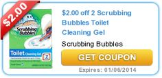 More coin for your vacation savings jar. $2.00 off 2 Scrubbing Bubbles Toilet Cleaning Gel