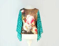 Boho Gypsy Top, Hippie Top, Bohemian Style Clothing, Indie Style Clothing, Upcycled Clothing on Etsy, $42.00