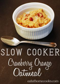 Slow Cooker Cranberry Orange Oatmeal - set this easy oatmeal up at night and wake up to a great breakfast!