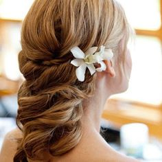 Flower embedded hairstyle :))