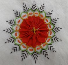 Carolyn Foley of Caro-Rose-Creations is sharing photos of a Sri Lankan tablecloth in her collection.   Yo-yo center surrounded by tree-shaped embroidery