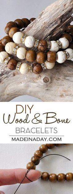 DIY Wood White Bone Bracelet DIY Jewelry