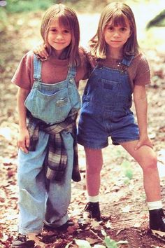 Mary-Kate and Ashley Olsen in denim overalls
