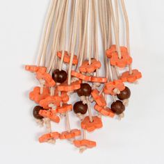 Necklace Long Lariat Orange Brown Beaded Statement by Cardoucci