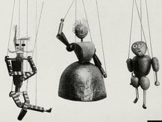 """Figurinen aus dem Marionettenspiel : """"Die Abenteuer des kleinen Buckligen"""". Der Schneider; seine Frau; der Bucklige. Entwurf : Kurt Schmidt, Ausführung : T. Hergt"""