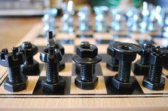Nut and bolt Chess Set. $75.00, via Etsy.