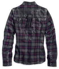 Harley-Davidson® Women's Black Label Long Sleeve Plaid Woven Top 96204-12VW