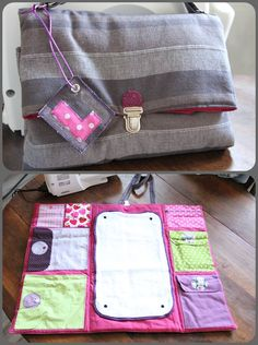 Sac et tapis à langer multipoches Baby Sewing Projects, Sewing Patterns For Kids, Diaper Bag Patterns, Baby Changing Mat, Diaper Clutch, Diy Bebe, Baby Couture, Baby Diaper Bags, Baby Nursery Decor