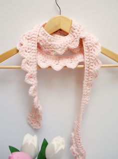 Crocheted Skinny Scalloped Scarf - creative jewish mom