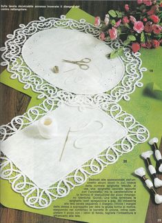 """Crochet Lace Плетене на една кука лента Lace: Fiber Art Reflections - A few months ago I discovered these two Italian lace books that contain some Romanian Point Lace crochet patterns and instructions. I've posted a few sample pages below. The term """"Unci… Crochet Doily Patterns, Crochet Borders, Crochet Designs, Crochet Doilies, Crochet Lace, Bruges Lace, Russian Crochet, Irish Crochet, Paper Embroidery"""