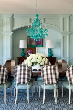 turquoise dining room by Tobi Fairley Interior Design
